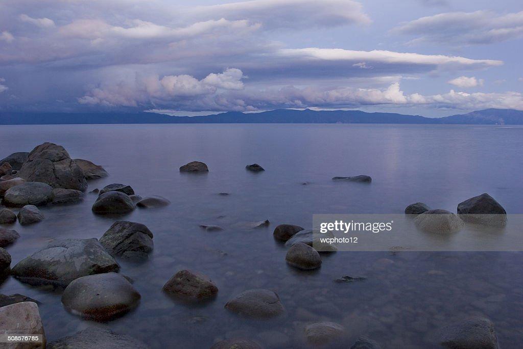 Lake Tahoe shoreline at sunset : Stock Photo