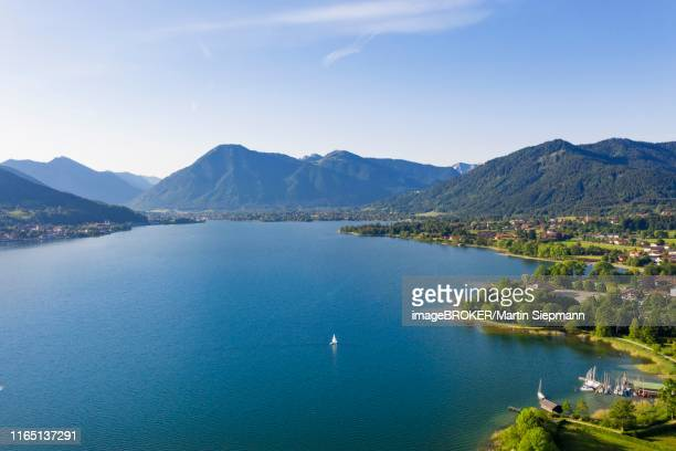 lake tegernsee, bad wiessee on the right, tegernsee on the left, wallberg, mangfall mountains, drone shot, upper bavaria, bavaria, germany - tegernsee stock pictures, royalty-free photos & images
