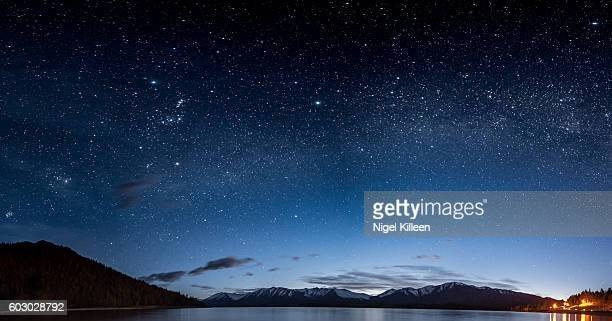 lake tekapo night sky, new zealand - sky only stock pictures, royalty-free photos & images