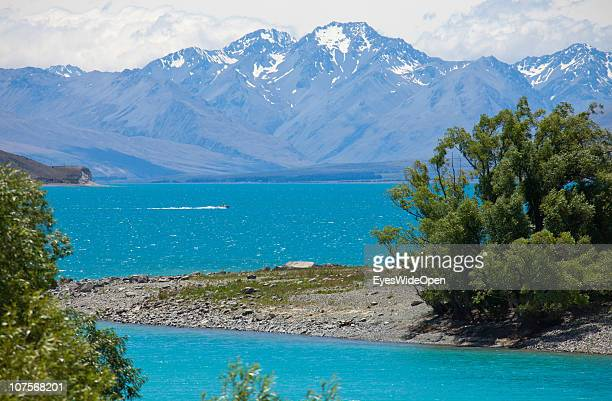Lake Tekapo on December 12 2010 in Aoraki / Mount Cook National Park South Island New Zealand Mt Cook is with an altitude of 3755 m the highest...