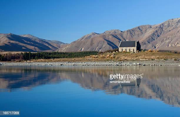 lago tekapo - iglesia del buen pastor tekapo fotografías e imágenes de stock