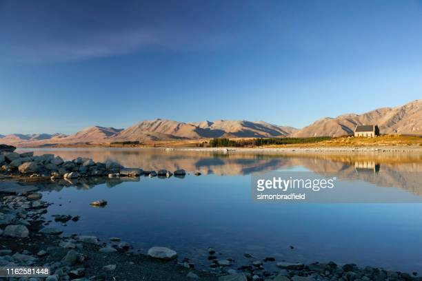 lago tekapo escénico - mackenzie country fotografías e imágenes de stock