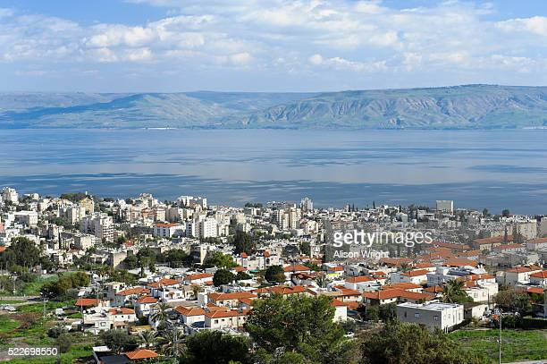 lake tiberius in the golan heights - golan heights stock pictures, royalty-free photos & images