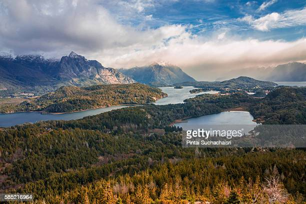 lake view from cerro campanario, bariloche - bariloche stock pictures, royalty-free photos & images