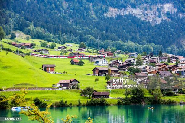lake view in lungern or lungerersee in obwalden, switzerland - switzerland stock pictures, royalty-free photos & images