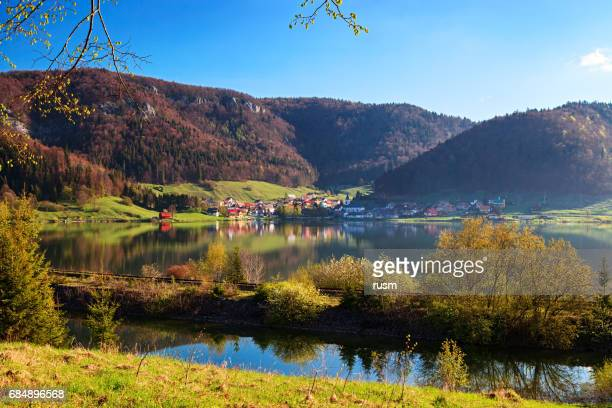 lake view near dedinky village in the slovak paradise national park. - slovakia stock pictures, royalty-free photos & images