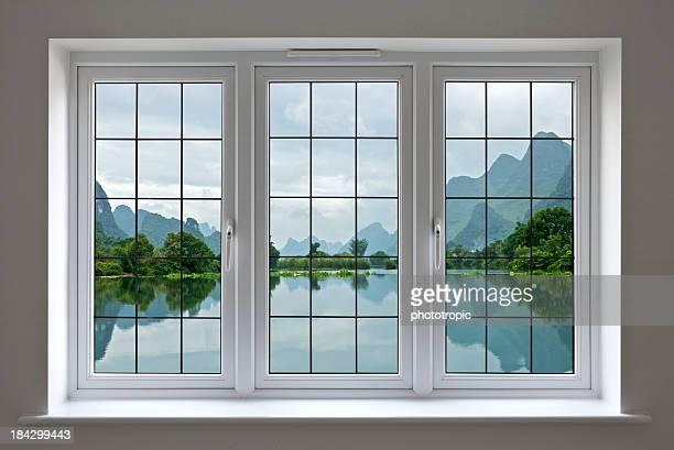 lake view through white windows