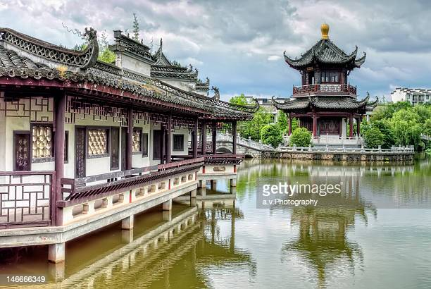 lake view with chinese pagoda - pagoda stock pictures, royalty-free photos & images