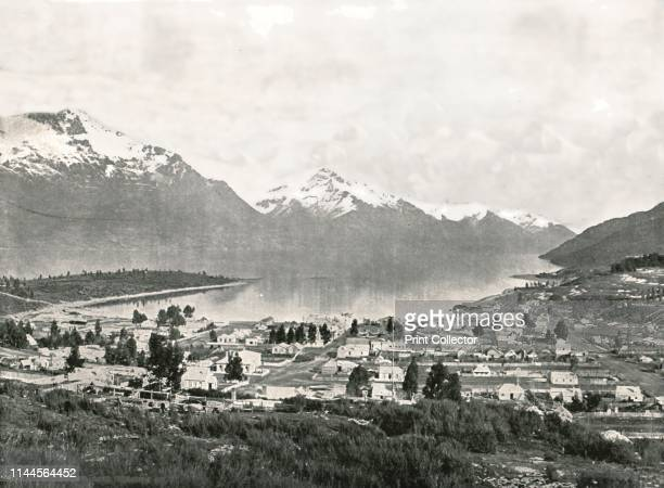 Lake Wakatipu and the mountains, Queenstown, New Zealand, 1895. Queenstown is built around an inlet called Queenstown Bay on Lake Wakatipu, on the...