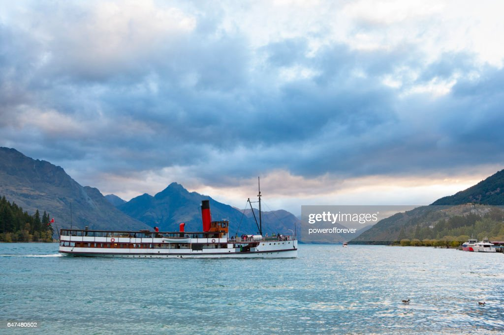 Lake Wakatipu at Queenstown in the Remarkable Mountains of New Zealand : Stock Photo