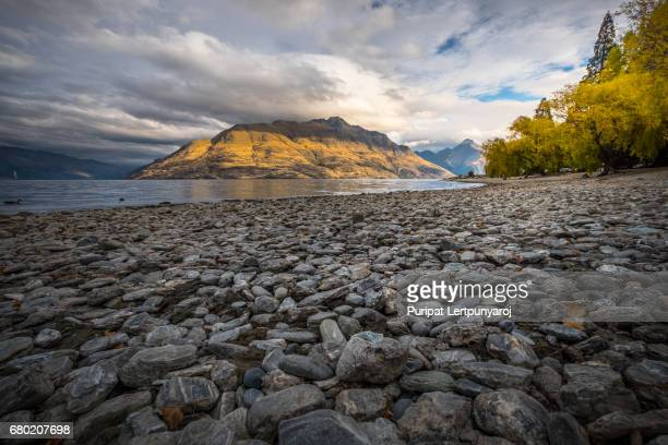 Lake Wakatipu with Mount Nicholas and the Remarkable in Queenstown, New Zealand