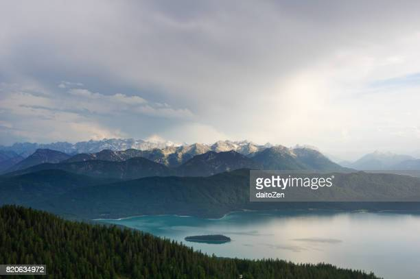 Lake Walchensee seen from Mt. Jochberg, Bavaria, Germany