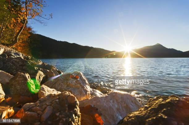 Lake Walchensee with late October sun, Lake Walchensee, Upper Bavaria, Germany