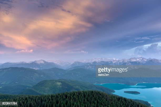 Lake Walchensee with mountain range in the background, seen from Mt. Jochberg, Bavaria, Germany