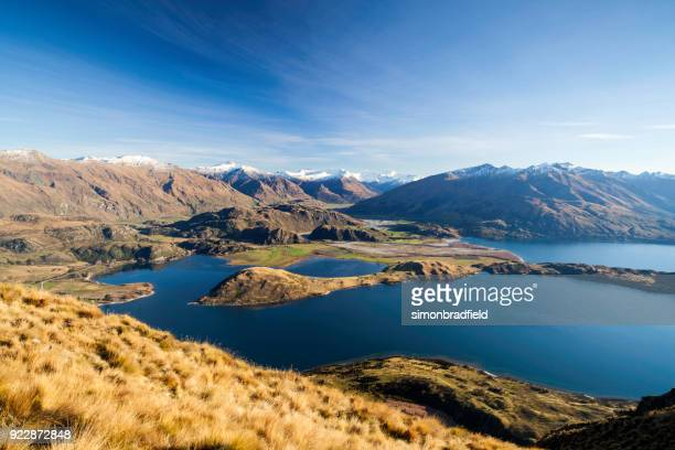 lake wanaka from roys peak - hill stock pictures, royalty-free photos & images