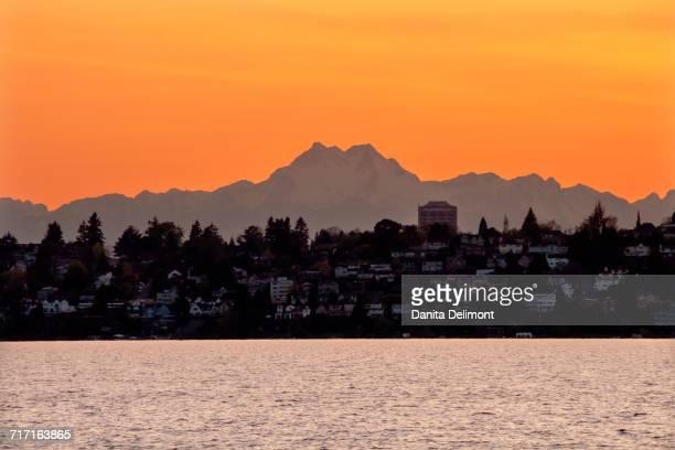 Lake Washington and Mount Olympus at dusk, Washington State, USA