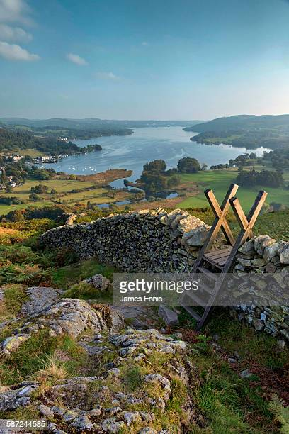 lake windermere view, english lake district - lake district stockfoto's en -beelden