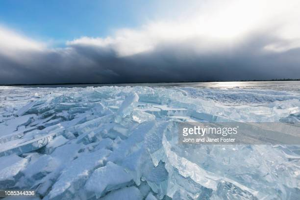 lake with dark sky and ice and storm
