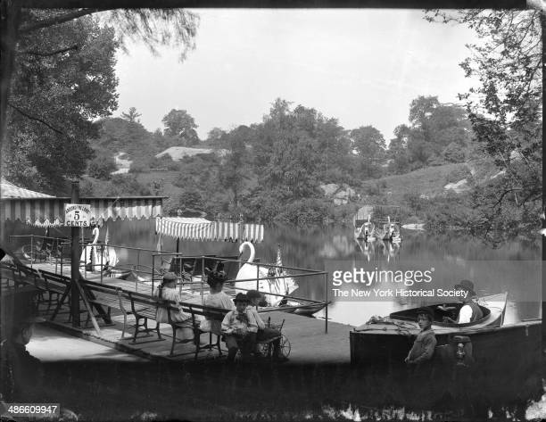 Lake with swan boats Central Park New York New York 1895