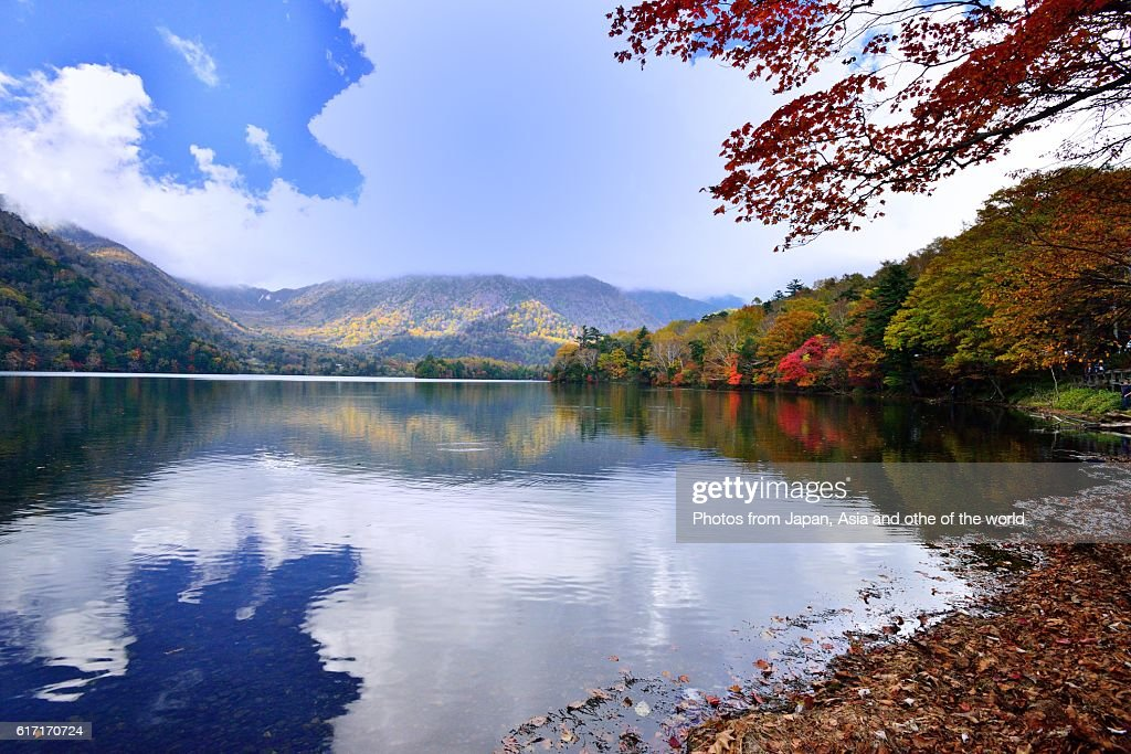 Lake Yunoko and Yutaki Falls in Autumn, Nikko, Japan : Stock Photo