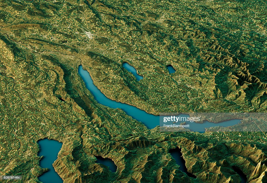 Lake Zurich 3D Landscape View South-North Natural Color : Stockfoto