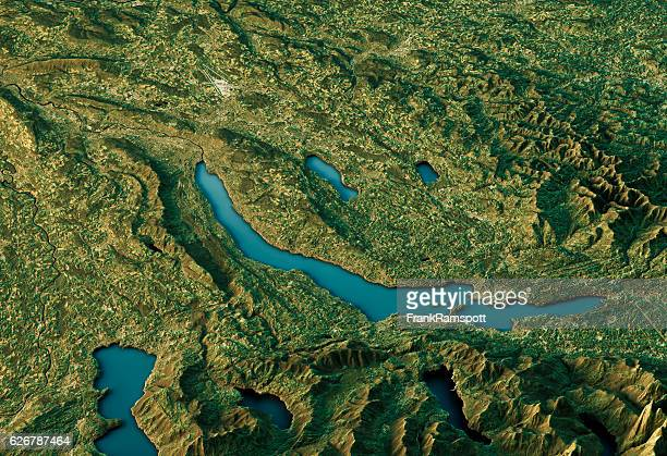lake zurich 3d landscape view south-north natural color - frank ramspott stock pictures, royalty-free photos & images