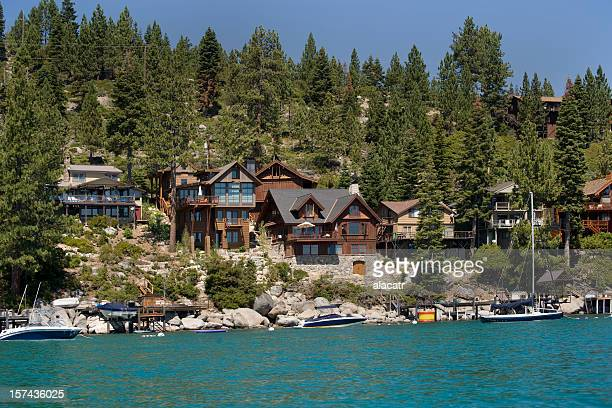 lakefront homes, california - lake tahoe stock pictures, royalty-free photos & images