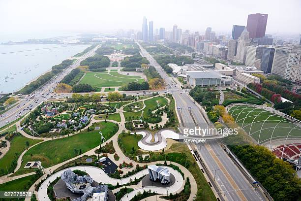 Lakefront parks,  Chicago,  from above