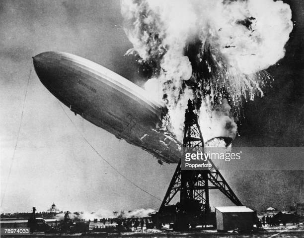 Lakehurst New Jersey USA 6th May Part of the Hindenburg airship explodes into a huge ball of flames as it flies over Lakehurst