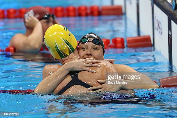 Lakeisha Patterson of Australia is congratulated by Jessica Long of the United States after winning the gold medal in the Women's 400m Freestyle S8...