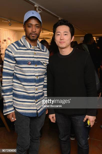 Lakeith Stanfield and Steven Yeun attend Twitter and ARRAYs #HereWeAre brunch at the #TwitterLodge during the 2018 Sundance Film Festival on January...