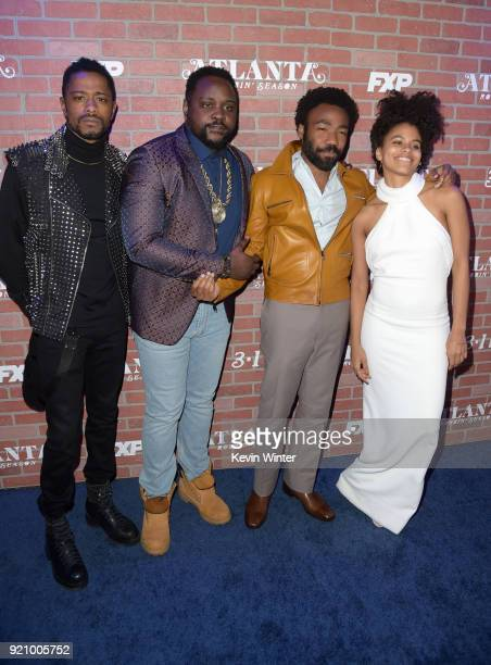 Lakeith Stanfield Brian Tyree Henry Donald Glover and Zazie Beetz attend the premiere for FX's Atlanta Robbin' Season at The Theatre at Ace Hotel on...