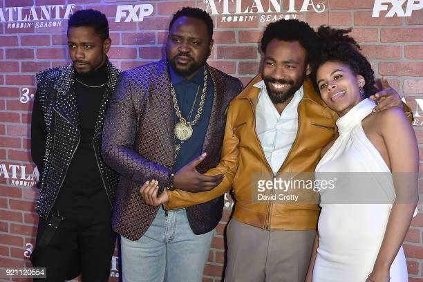 Lakeith Stanfield Brian Tyree Henry Donald Glover and Zazie Beetz attend FX's Atlanta Robbin' Season Premiere Arrivals at Ace Theater Downtown LA on...