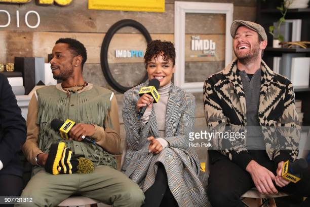 Lakeith Stanfield Tessa Thompson and Armie Hammer of 'Sorry To Bother You' attend The IMDb Studio and The IMDb Show on Location at The Sundance Film...