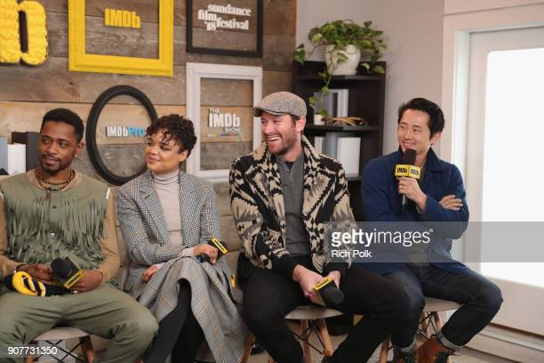 Lakeith Stanfield Tessa Thompson Armie Hammer and Steven Yeun of 'Sorry To Bother You' attend The IMDb Studio and The IMDb Show on Location at The...