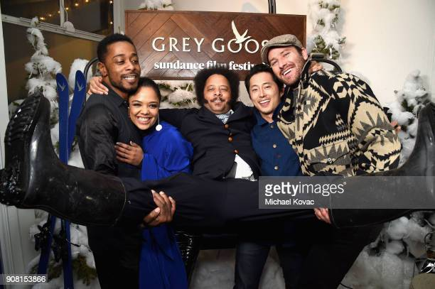 Lakeith Stanfield Tessa Thompson Boots Riley Steven Yeun and Armie Hammer attend the 'Sorry to Bother You' After Party at Sundance Film Festival 2018...