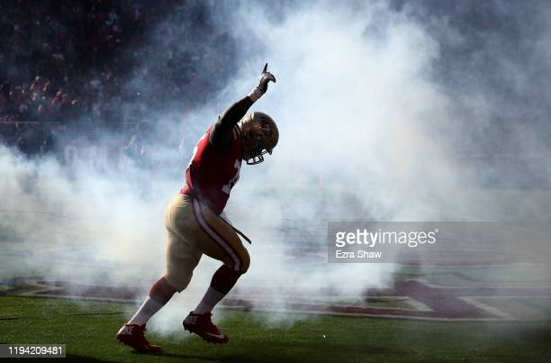 Laken Tomlinson of the San Francisco 49ers runs on to the field for their game against the Atlanta Falcons at Levi's Stadium on December 15 2019 in...