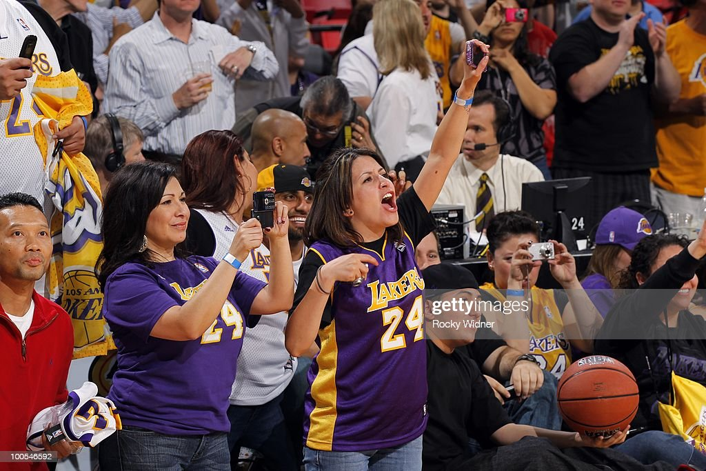 Laker fans show their support during the game between the Los Angeles Lakers and the Sacramento Kings at Arco Arena on March 16, 2010 in Sacramento, California. The Lakers won 106-99.