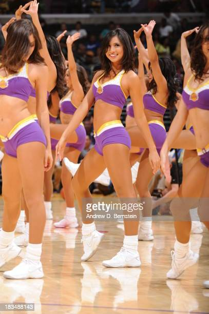 Laker Girls dancer performs during a game between the Los Angeles Lakers and the Denver Nuggets at STAPLES Center on October 10 2013 at in Los...