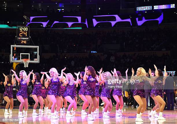 Laker Girls perform during the game between the Houston Rockets and the Los Angeles Lakers at Staples Center on October 26 2016 in Los Angeles...