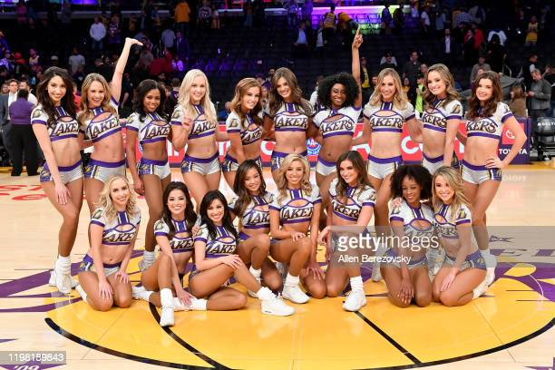 Laker Girls pose for a photo after a basketball game between the Los Angeles Lakers and the New York Knicks at Staples Center on January 07, 2020 in...