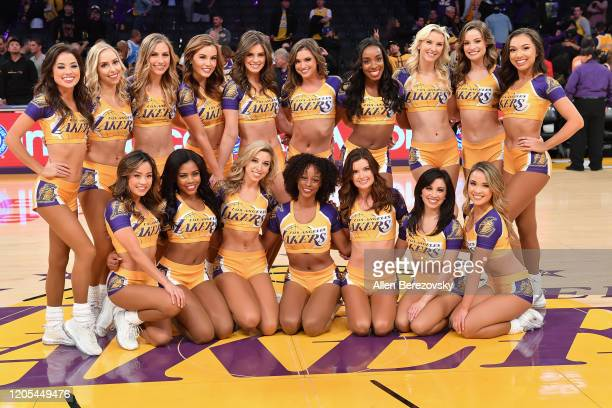 Laker Girls pose for a photo following a basketball game between the Los Angeles Lakers and Phoenix Suns at Staples Center on February 10, 2020 in...