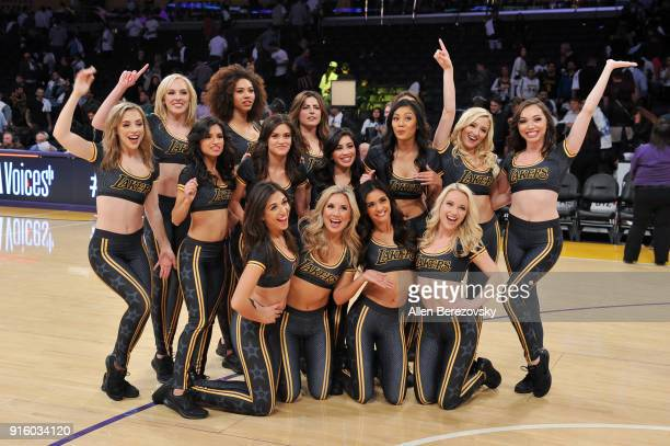 Laker Girls pose for a picture after a basketball game between the Los Angeles Lakers and the Oklahoma City Thunder at Staples Center on February 8...