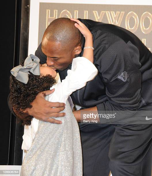 Laker Kobe Bryant and daughter Gianna MariaOnore Bryant attend the Kobe Bryant hand and footprint ceremony at Grauman's Chinese Theatre on February...