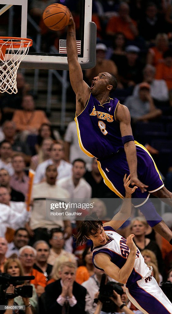 outlet store bfb09 98110 Laker Kobe Bryant goes for the dunk over the Phoenix Suns Steve Nash in the  fourth