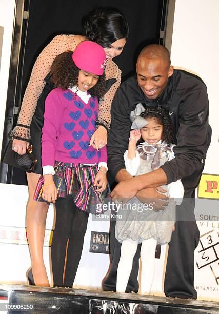 Laker Kobe Bryant wife Vanessa Bryant and daughters Natalia Diamante Bryant and Gianna MariaOnore Bryant attend the Kobe Bryant hand and footprint...