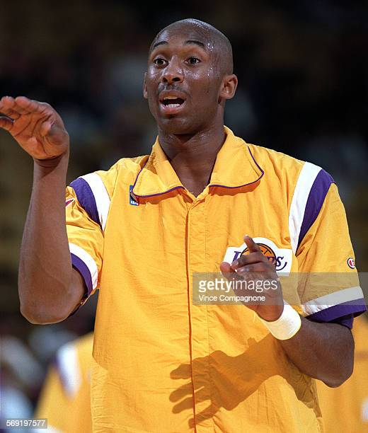 Laker rookie 18–year–old Kobe Bryant warms up prior to game at the Forum earlier this season
