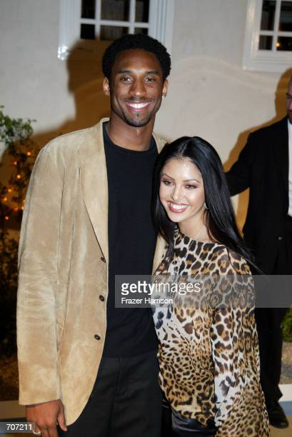 Lakers basketball player Kobe Bryant and his wife Vanessa Laine attend the grand opening of actress Jennifer Lopez's new restaurant Madres April 12...