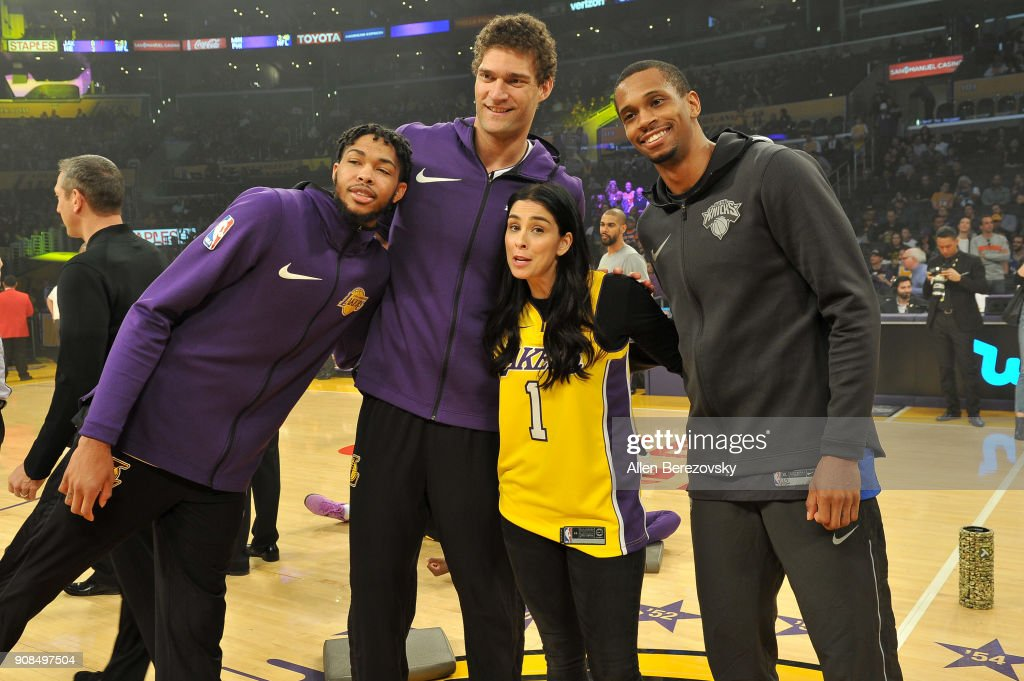 Lakers captains Brandon Ingram, Brook Lopez, honorary captain Sarah Silverman and Knicks captain Damyean Dotson pose for a picture at center court prior to a basketball game between the Los Angeles Lakers and the New York Knicks at Staples Center on January 21, 2018 in Los Angeles, California.