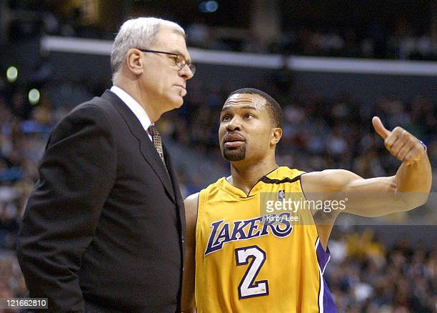 Lakers coach Phil Jackson and Derek Fisher